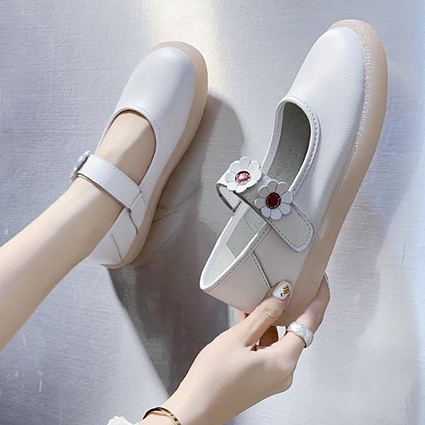 護士鞋 白色護士鞋女春秋季豆豆鞋單鞋軟皮平底文藝森系軟底孕婦奶奶鞋子 歐歐