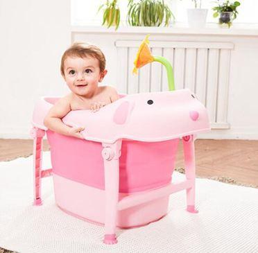 抖音同款兒童可摺疊浴桶嬰兒大號寶寶洗澡桶小孩可坐沐浴盆泡澡桶