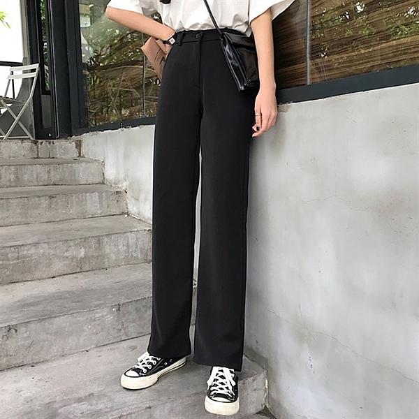 西裝褲 高腰垂感闊腿褲女春秋新款韓版寬鬆直筒黑色長褲子休閒西裝褲 俏俏家居