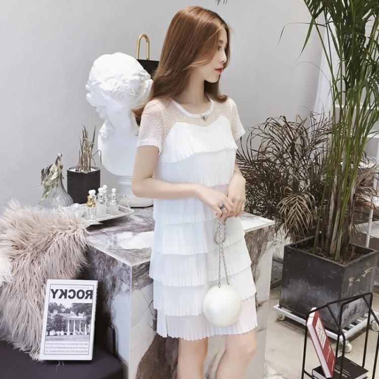 洋裝 中大尺碼很仙的雪紡連身裙女夏2020新款蕾絲拼接短袖冷淡風百褶寬鬆裙子潮 尾牙年會禮物