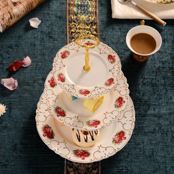 碟子陶瓷水果藍客廳創意蛋糕架玻璃干果盤下午茶點心托盤