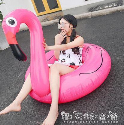 泳圈火烈鳥游泳圈成人加厚充氣水上坐騎可愛獨角獸網紅愛心加大女