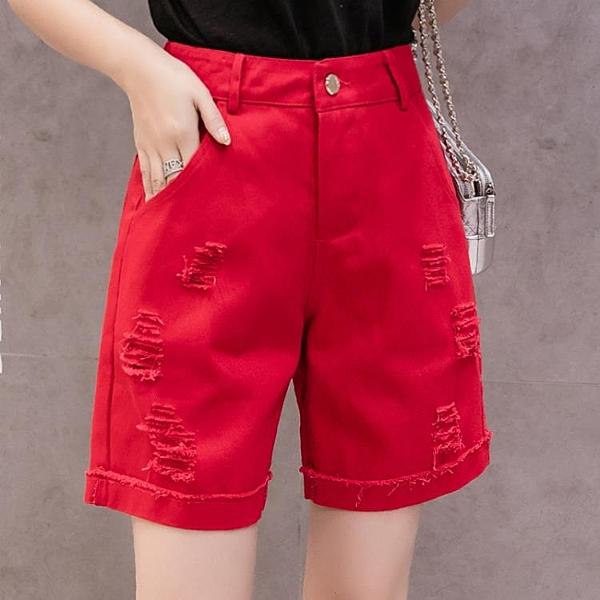 牛仔五分褲 牛仔五分褲女寬鬆直筒工裝5分褲四分短褲女夏季中褲修身短褲顯瘦-Ballet朵朵