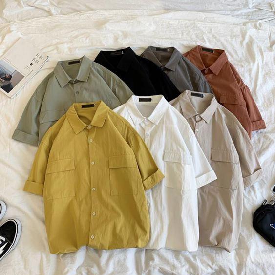 短袖襯衫男寬鬆工裝五分袖襯衣男士韓版潮流帥氣半袖上衣