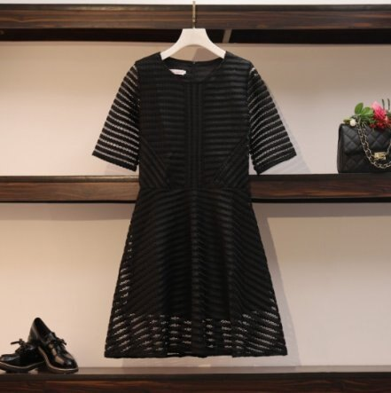 「樂天優選」中大尺碼洋裝連身裙M-4XL韓國鏤空裙黑色洋氣春裝連衣裙3F121.8013