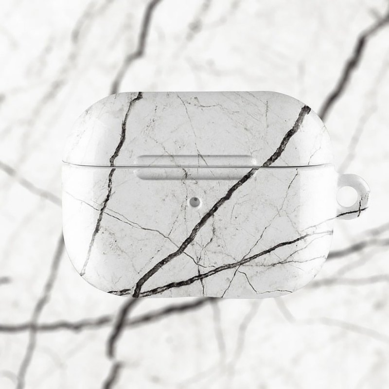 AirPods 1/2/Pro硬殼耳機保護套 經典白色雲石紋