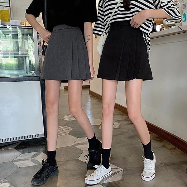 百褶裙 高腰A字裙夏季2021新款不規則半身裙女夏黑色顯瘦百褶裙短裙裙子 霓裳細軟