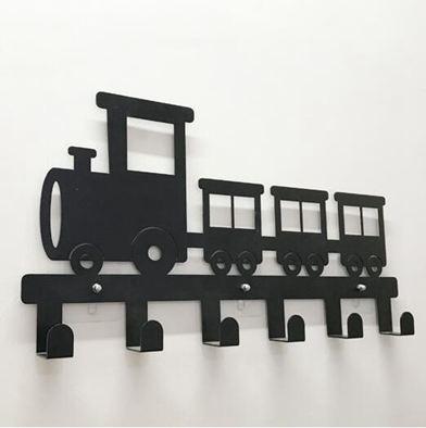 掛鉤火車墻壁裝飾無痕粘膠衣架鑰匙個性鐵藝創意門后衣帽架新品