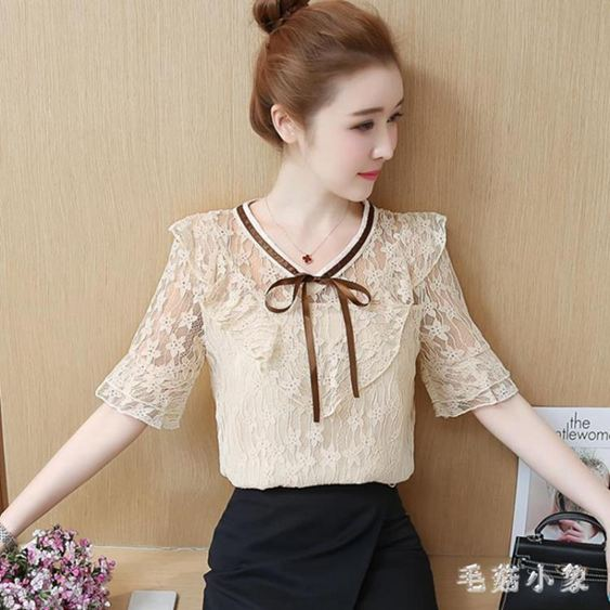 夏女裝新款韓版百搭短袖很仙的蕾絲打底衫雪紡衫鏤空上衣