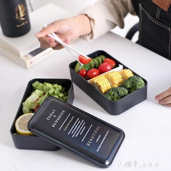 黑色時尚雙層便當盒午餐盒打包盒內置筷勺飯盒