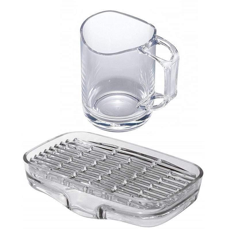 可瀝水漱口水杯及排水肥皂盒組 - 二款 透明白款