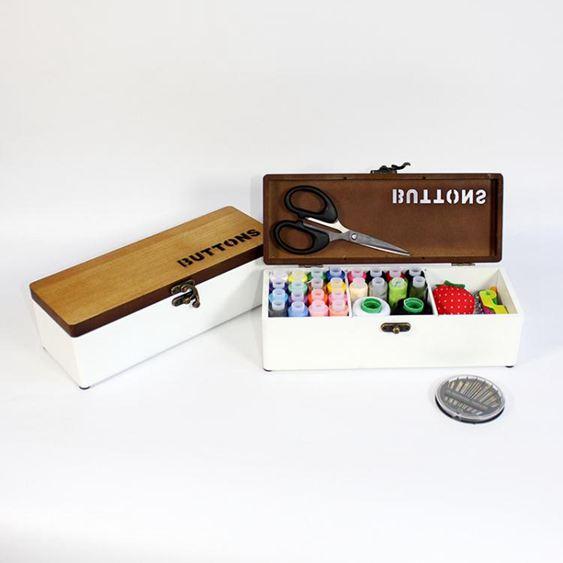 zakka復古實木質針線盒套裝家用縫紉線包韓國風十字繡工具