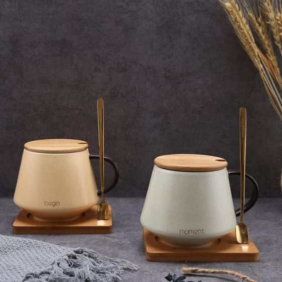 ins北歐馬克杯咖啡杯簡約杯子陶瓷帶蓋勺辦公室水杯家用情侶一對