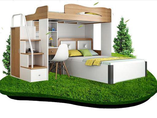 高架床雙層床上下床高低床多功能高架床成人兒童書桌衣櫃組合子母床家具DF