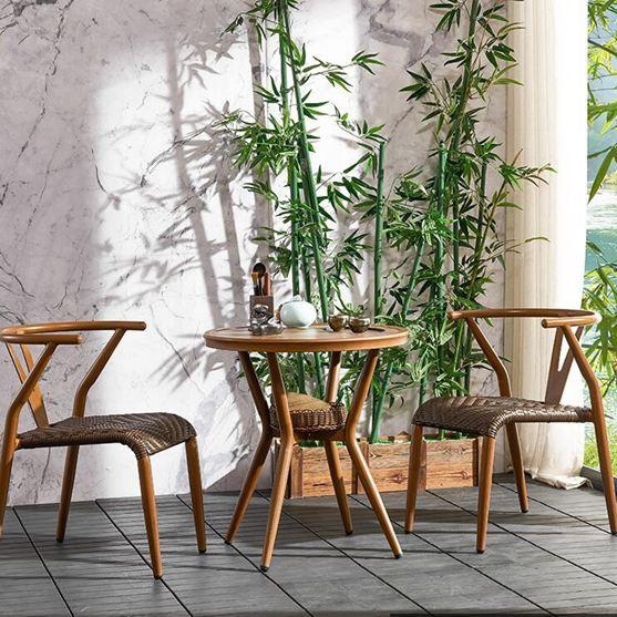 陽臺桌椅小茶幾藤椅三件套室內陽臺桌椅組合戶外桌椅庭院