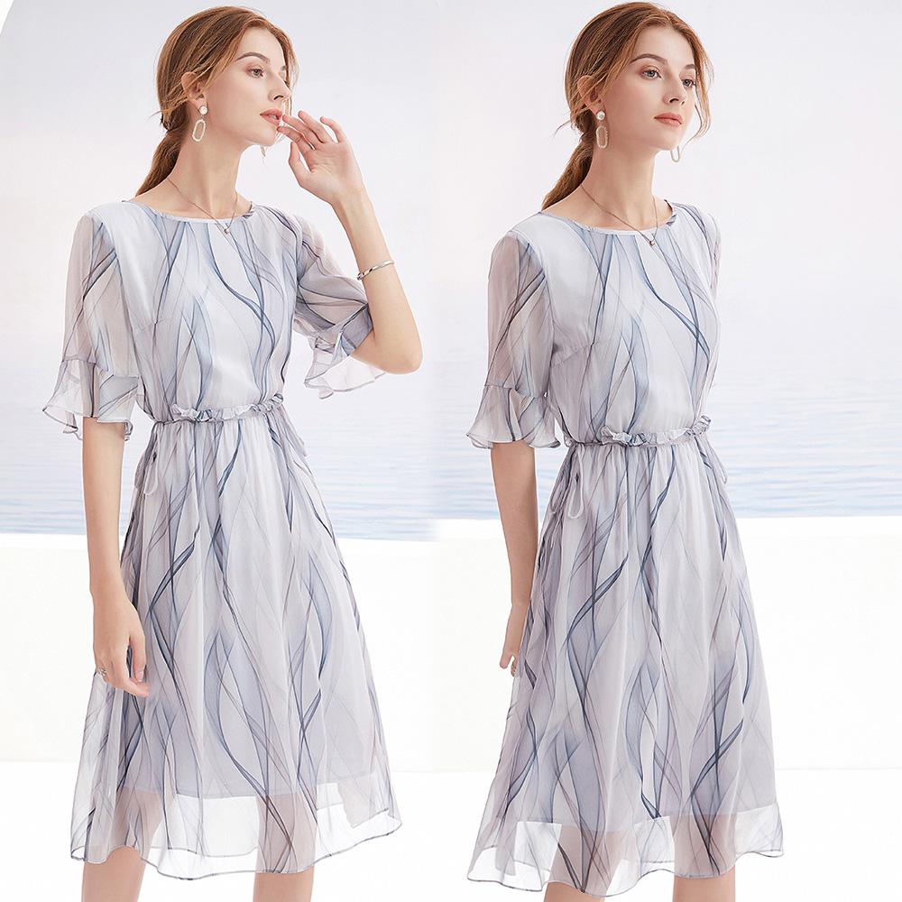 【KEITH-WILL】(預購) L-2XL 法式優雅仿桑蠶絲印花洋裝