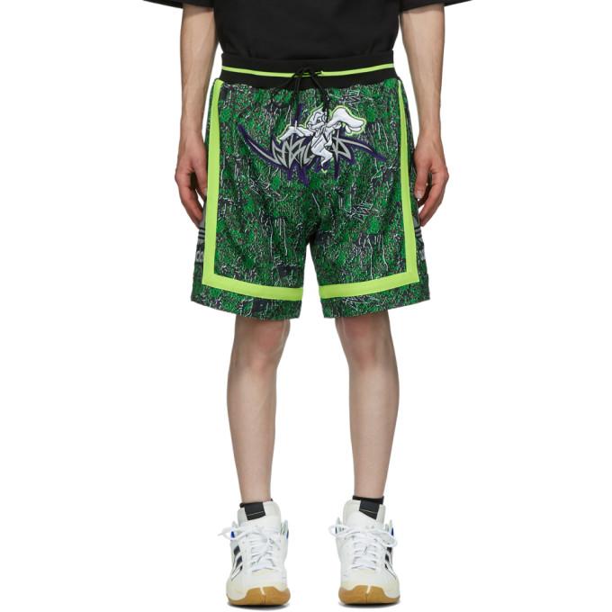 Sankuanz 黑色 and 绿色 adidas Originals 联名 Basketball 双面短裤