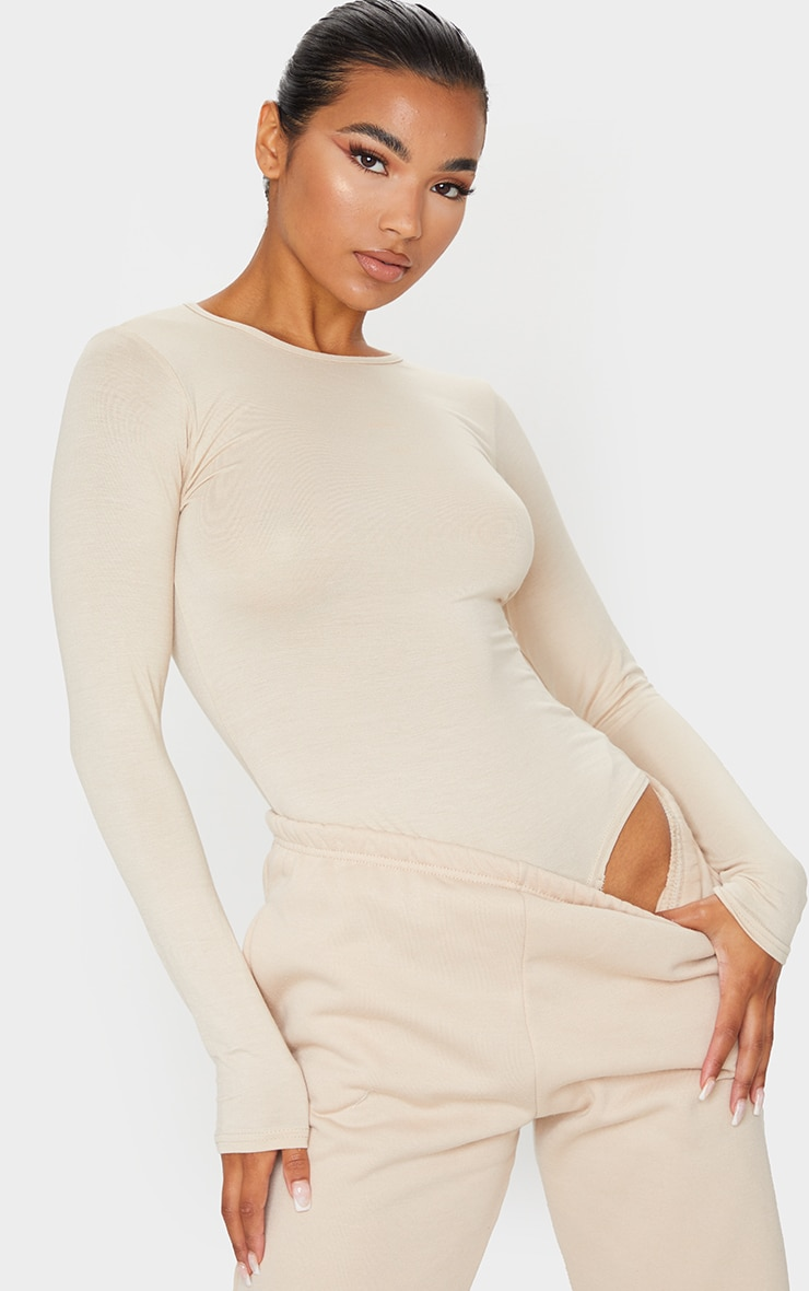 Basic Stone Crew Neck Long Sleeve Bodysuit