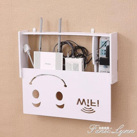 無線路由器收納盒壁掛WiFi置物架貓裝飾免打孔遮擋箱機頂盒架子