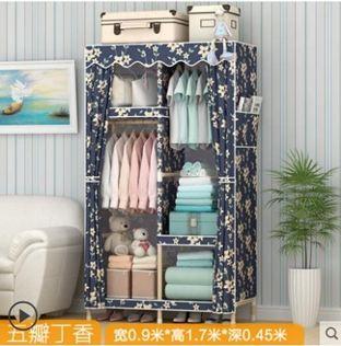 衣櫃衣架衣櫃收納實木衣櫃簡易布藝衣櫥組裝布衣櫃簡約現代經濟型板式租房宿舍小!~`