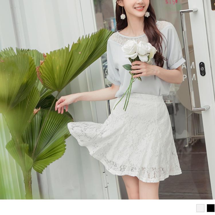 韓系雅緻鏤空蕾絲後腰鬆緊A字打摺短裙
