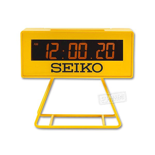 SEIKO 精工 / 日期 計時碼錶 貪睡鬧鈴 可拆座架 長方形鬧鐘 電子鐘 - 黃色 #QHL062Y