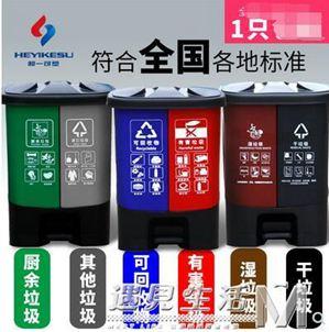 分類腳踏垃圾桶40L戶內外雙桶腳踩環衛垃圾筒環保干濕分離上海20L