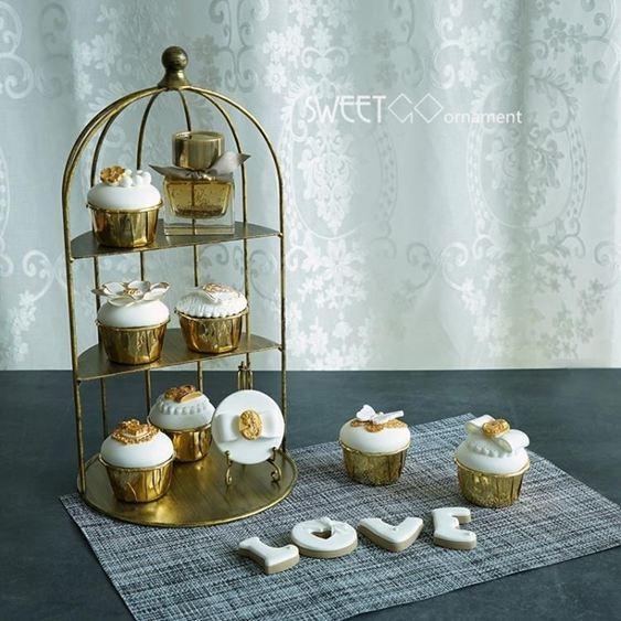 碟子裝飾鳥籠擺件鐵藝半框鳥籠甜品臺道具婚慶蛋糕架復古金色冷餐架DF