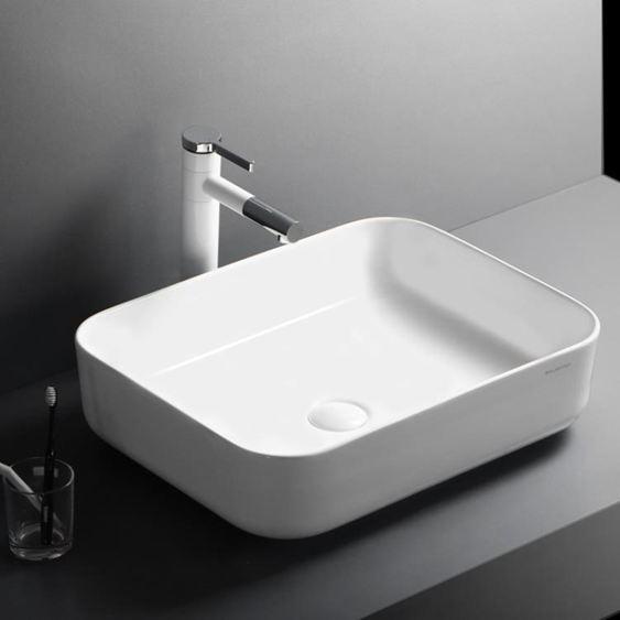 浴櫃北歐超薄邊臺上盆現代簡約陶瓷洗手盆方形洗臉盆衛生間藝術盆臺盆