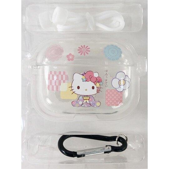 小禮堂 Hello Kitty Apple AirpodsPro 透明保護殼 藍牙耳機盒 耳機保護套 (紫 和服)