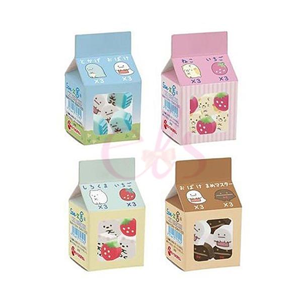 日本 SAN-X 角落生物 牛奶盒造型 迷你橡皮擦 6顆/盒 四款隨機 艾莉莎ELS