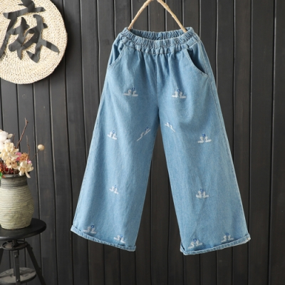 【韓國K.W.】(預購) 可愛印花休閒牛仔褲