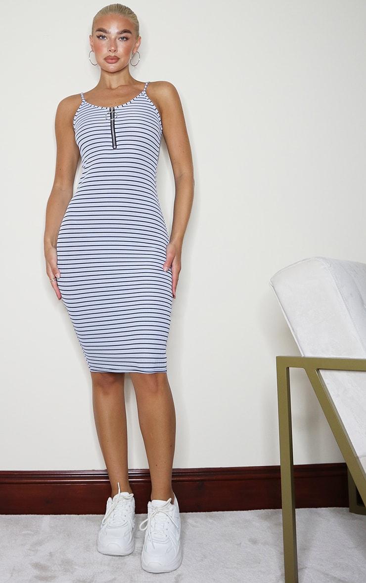 Blue Stripe Ring Zip Detail Strappy Midi Dress