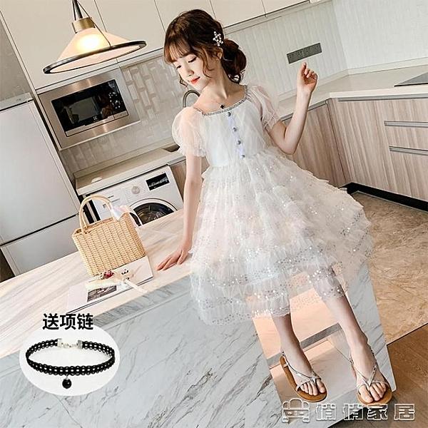 小禮服 洋裝 超仙女童公主洋裝 新夏季亮片女孩蓬蓬紗泡泡袖兒童小禮服裙 【母親節特惠】