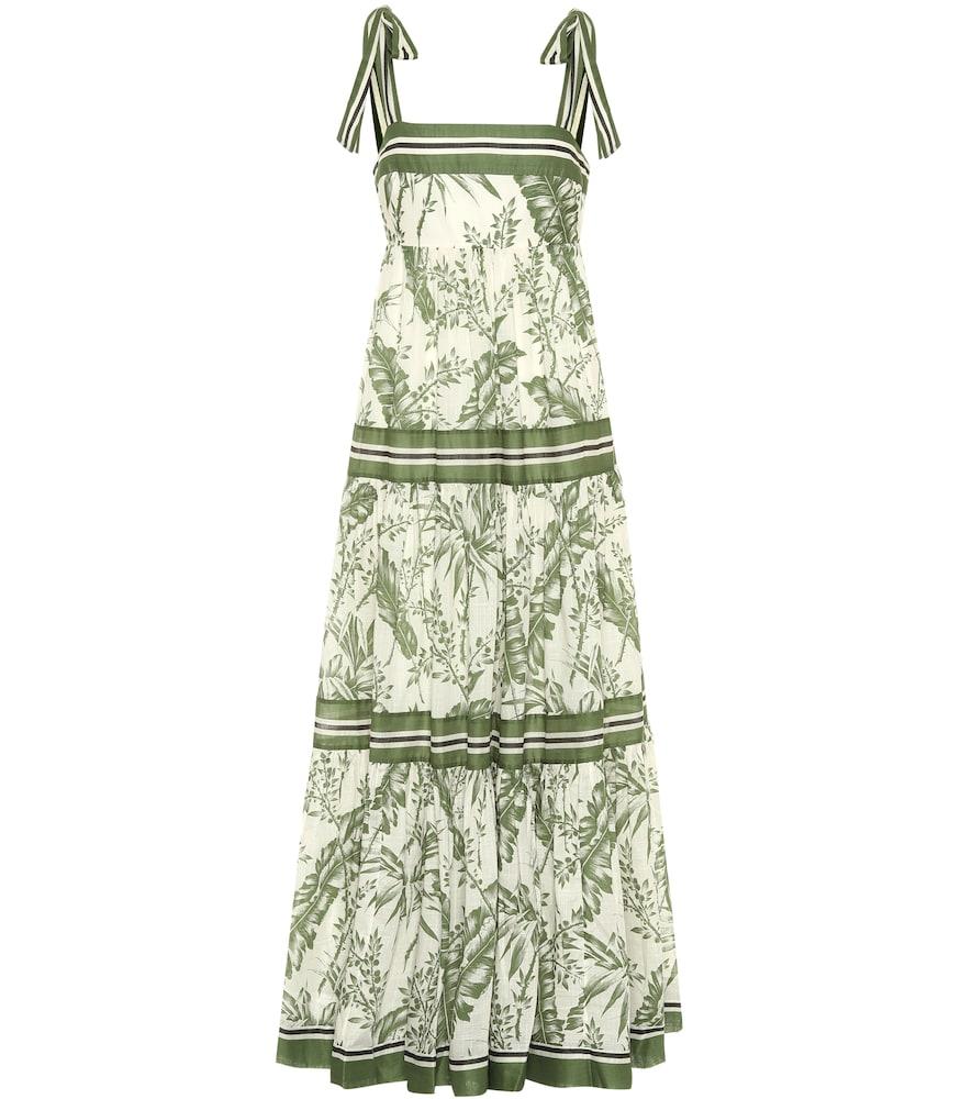 Empire printed cotton midi dress