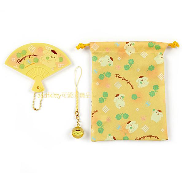 asdfkitty*布丁狗束口袋+扇形手拿鏡子+手機吊飾-日本正版商品