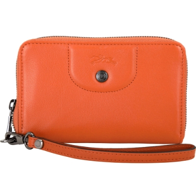 LONGCHAMP Le Pliage Cuir 小型 手腕帶羊皮萬用卡夾錢包(橘色)