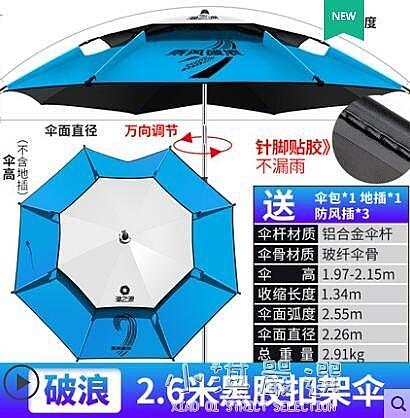 防暴雨釣魚傘大釣傘2.4萬向加厚雨傘防風遮陽防雨魚垂釣傘CY『小淇嚴選』