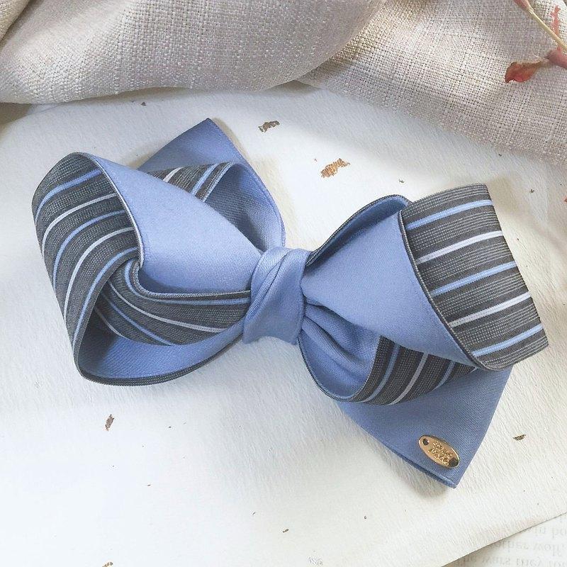 牛仔藍 / 條紋雙色多層立體蝴蝶結香蕉夾 馬尾夾 彈簧夾 鯊魚夾