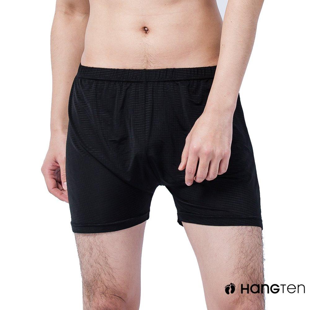 HANG TEN 冰絲格紋平口褲_黑(HT-C12008)