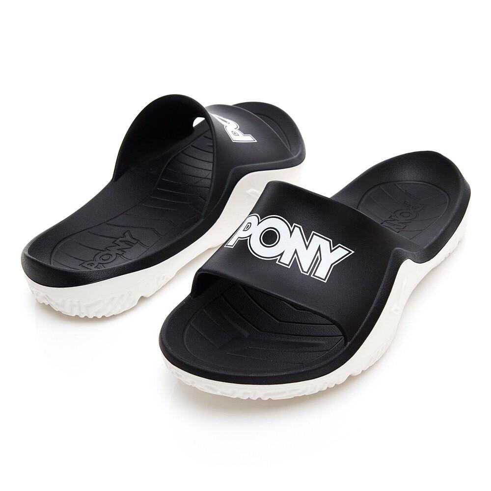 【PONY】男女 / 輕量抗菌防臭防滑運動拖鞋-92U1FL07- 黑色