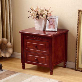 實木床頭櫃簡約現代美式胡桃色紅棕色鄉村歐式臥室床邊收納儲物櫃全館特惠限時促銷