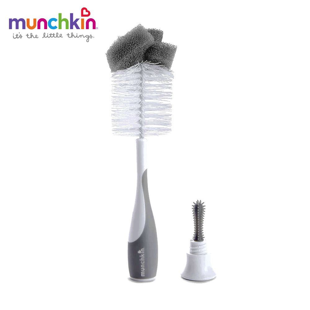 munchkin滿趣健-二合一奶瓶奶嘴刷-灰