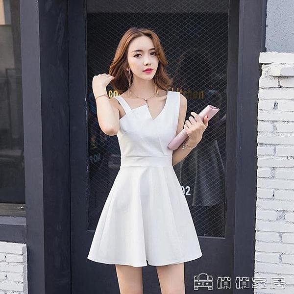 小禮服 洋裝 白色小香風吊帶裙子夏季女新款韓版氣質顯瘦a字小禮服洋裝 【618特惠】