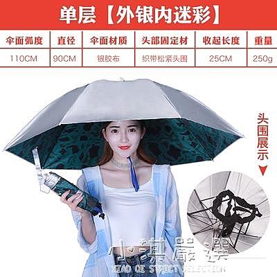 傘帽頭戴傘雙層防曬防雨傘帽釣魚傘斗笠頭傘大號折疊垂釣遮陽成人CY『小淇嚴選』