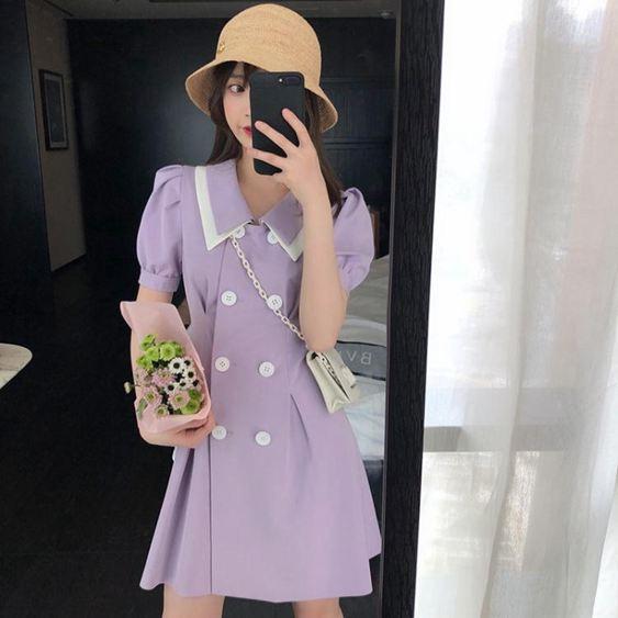 夏季新款氣質仙女超仙森繫泡泡袖收腰遮肚顯瘦紫色連身裙子SUPER 全館特惠9折