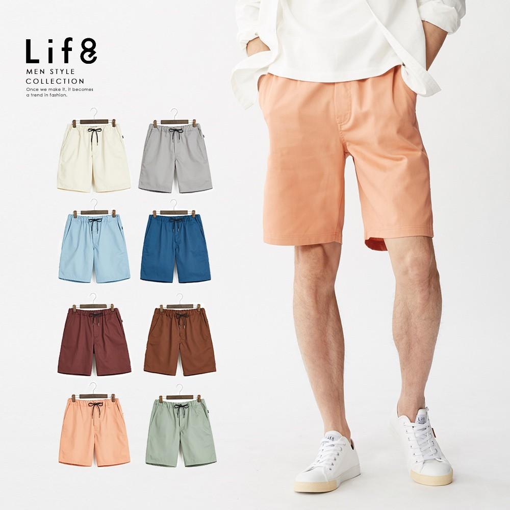 life8-casual 繽紛多色 彈力腰頭修身短褲-02514