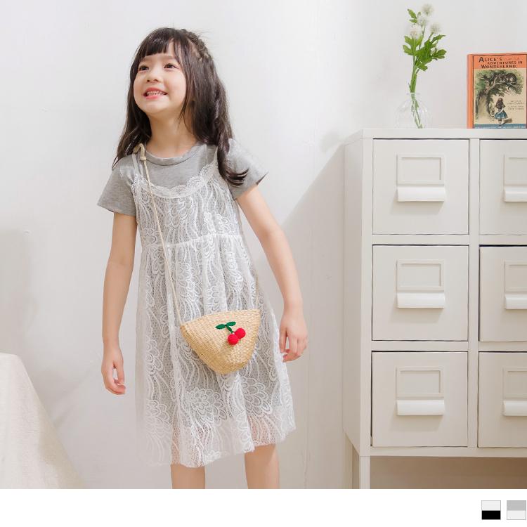 親子系列~兩件式蕾絲背心休閒短袖洋裝