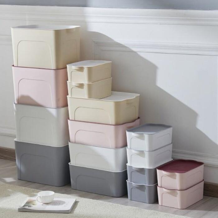 附蓋多功能收納箱 塑料四件套整理箱 床底雜物收纳盒 可加疊-大號賣場