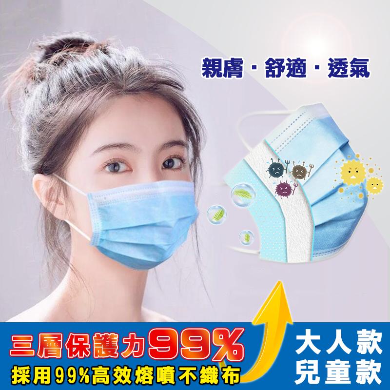 熔噴布三層防護清淨口罩 防塵口罩 兒童口罩 大人口罩(50片/盒)魔小物